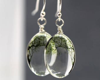 Sterling silver Bending Willow transparent dangle earrings. 3D glass tree of life jewelry.