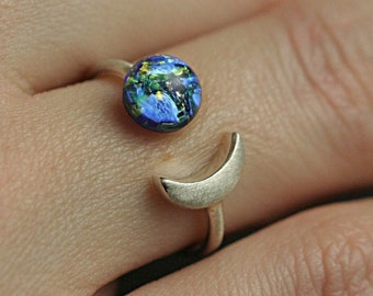 Dainty sterling moon & glass opal ring. Crescent moon and blue fire glass opal. Delicate 925 ring. Adjustable. Stackable. Gift for her.