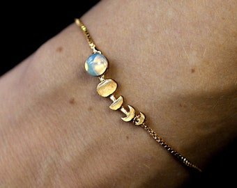 Moon Phase bracelet. Hand gilded gold & glass opal. Gifts for sister, mom, best friend.
