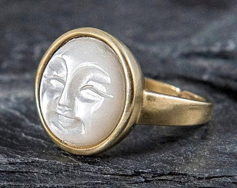 Gold carved shell moon face ring. Mother of pearl.