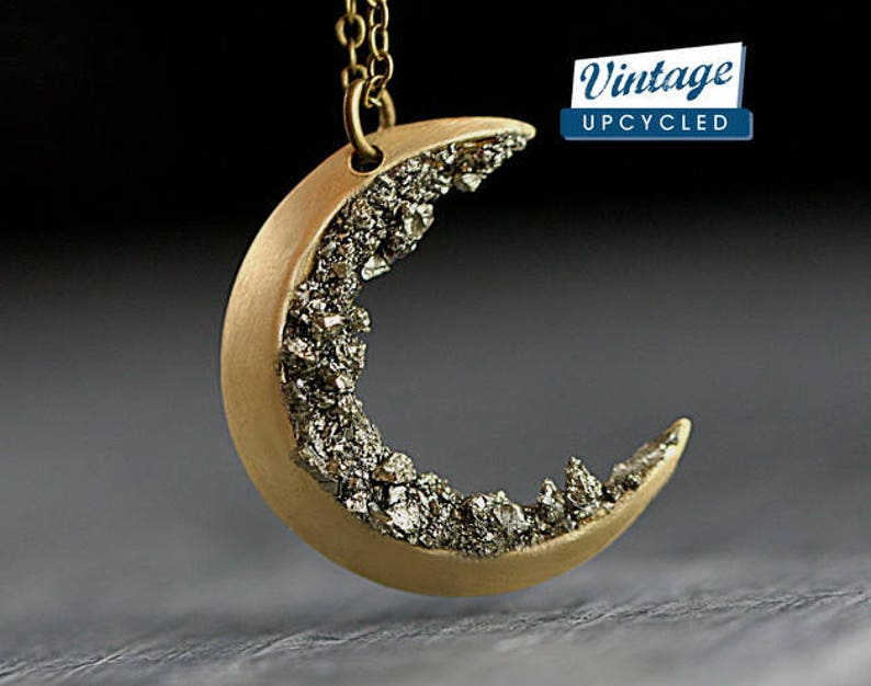 da36cef1c4933 Crushed crystal crescent moon necklace. Genuine vintage moon upcycled with  raw pyrite. Brass gold. Long necklace. Celestial jewelry.