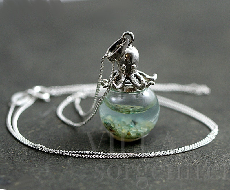 Sterling octopus seawater necklace. 925 sterling octopus image 0