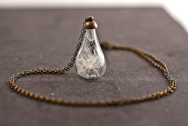 Handblown glass teardrop filled with REAL DANDELION seeds  image 0