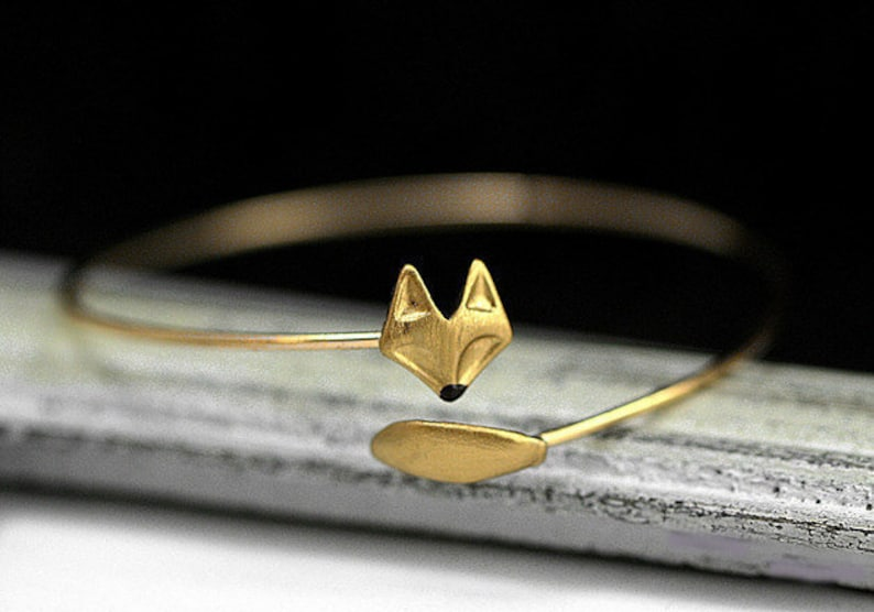 Delicate hand gilded fox bangle. Fox and tail hand gilded and image 0