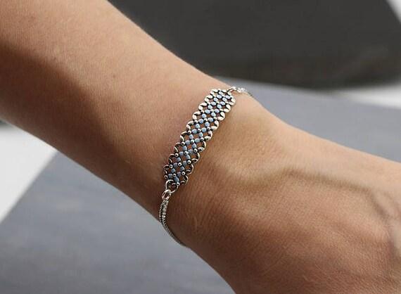 Light blue enameled trim Delicate filigree chain bracelet Partly oxidized Sterling silver Forget me Not bracelet Bridal Adjustable