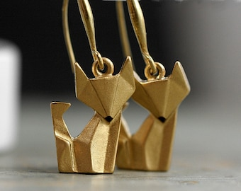 Origami Fox Earrings. Hand painted and gilded. Gold dangling earrings. Fox jewelry.