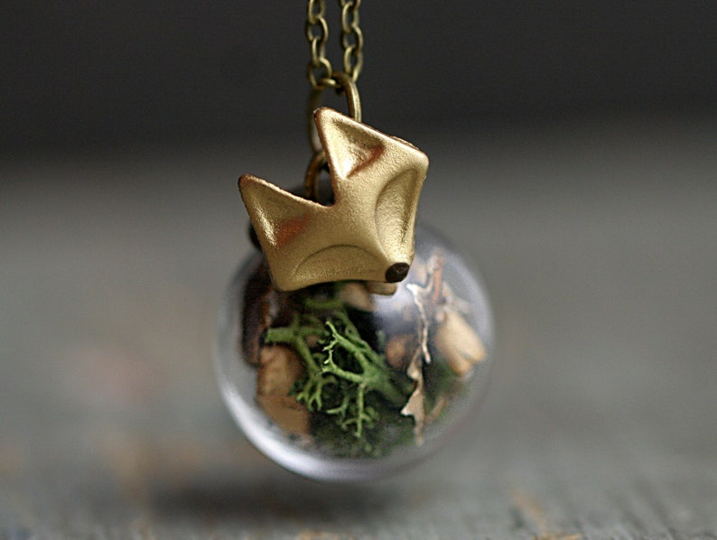 FOREST FOX Necklace. Handgilded fox head. Glass orb with real image 0