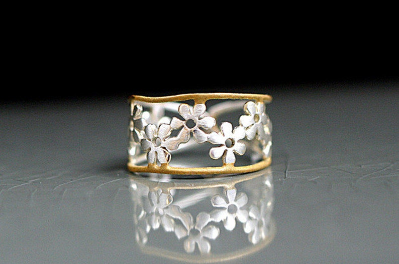 Bicolor Flower Ring. Sterling ring with golden trim. Delicate. image 0