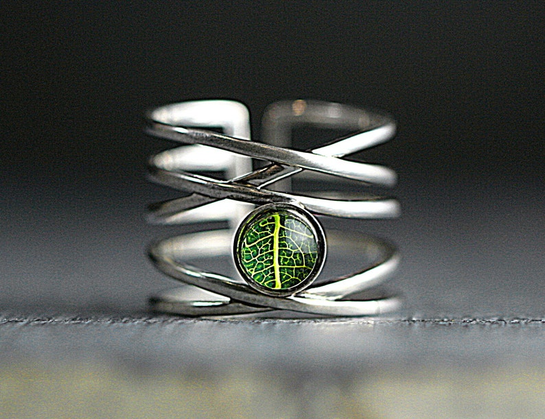 Nature inspired gift for her. Adjustable Sterling Silver ring with real leaf Multiple bands with tiny leaf in resin and glass