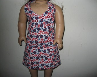 """Halter Dress for 18"""" Doll - Red, White and Blue"""