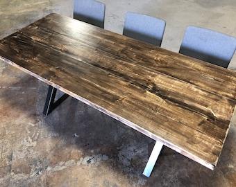 Reclaimed Wood U0026 Metal Dining Table