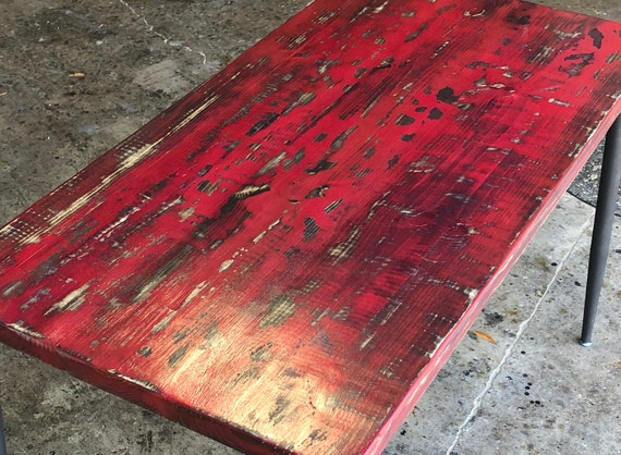 Antique Red Distressed Wood Desk, Red Distressed Furniture
