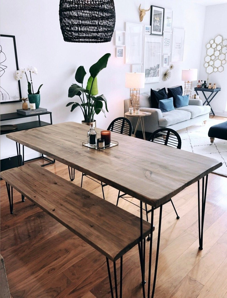 Reclaimed Wood & Metal Dining Table image 0