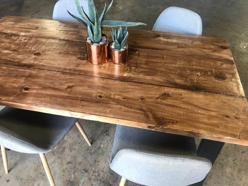 Reclaimed Wood Metal Dining Table Farmhouse Table Rustic Etsy