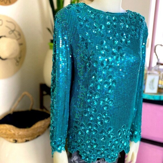 Vintage Sequin Teal Top
