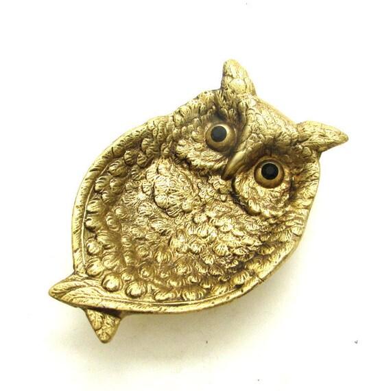 Vintage Gold Tone Brass Owl w/ Gem Rhinestone Eyes
