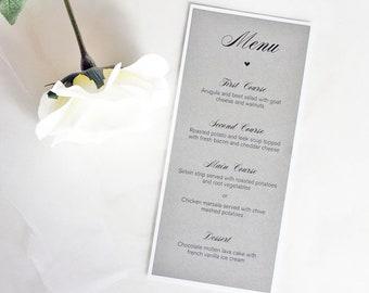Grey Wedding Table Menus, Grey Dinner Menus, Grey Wedding Menu, Grey Blush Wedding, Grey Pink Wedding, Table Menus Wedding, Dinner Menus