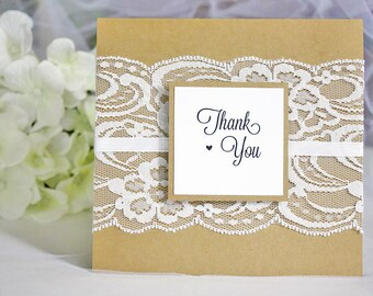 Rustic Kraft and White Lace Wedding Thank You Cards Wedding, Rustic Thank You Cards, Rustic Wedding, Lace Wedding, Thank You Cards