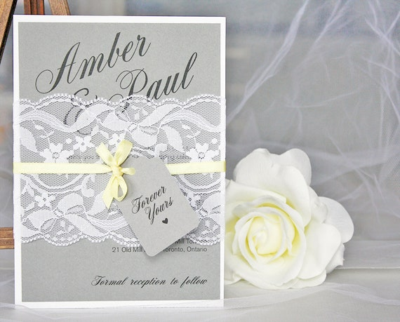 Grey and Yellow Lace Wedding Invitations Lace Wedding  a1b8c3e18