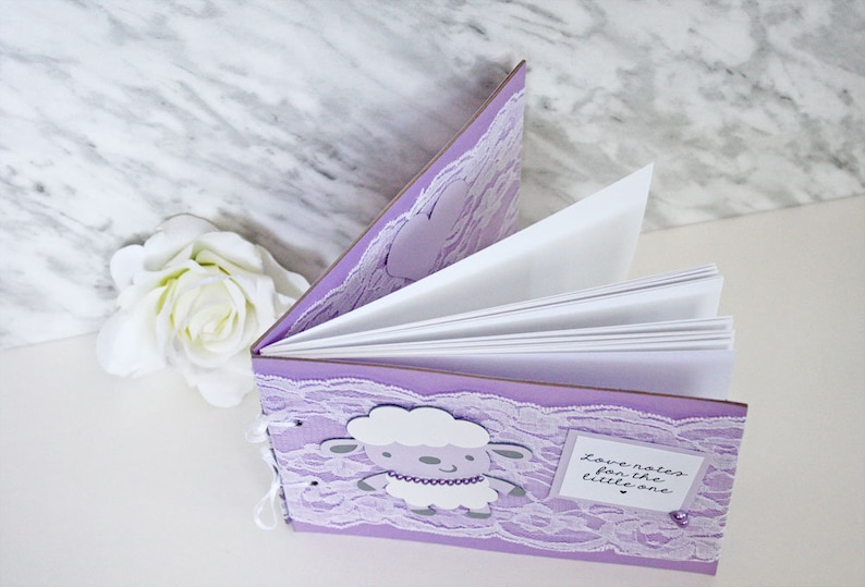 Baby Shower Guest Book Purple Lace Lamb Baby Shower Guest Book Lamb Baby Shower Guest Book Baby Guest Book Lamb Baby Shower
