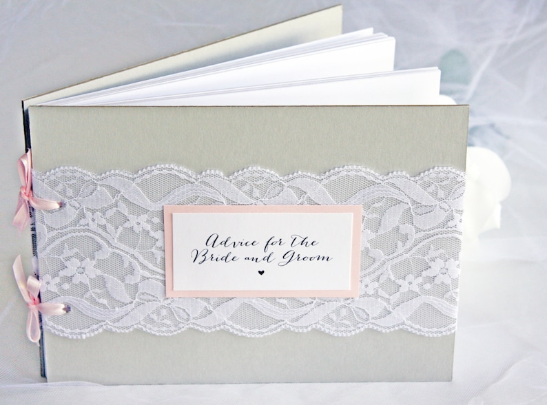 97d22686b5b Grey   Blush Lace Bridal Shower Advice Guest Book Advice for