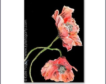 Matted Fine Art Print - Duo of Flanders Poppies - Fine Art Print from Original Painting by Kylie Fogarty