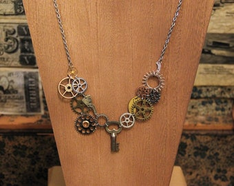 Steampunk Necklace with Key - Gear Necklace