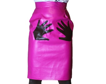 Crazy Sale 50% Off  Pink knee length fitted pencil skirt high waisted latex pencil skirt hand design High waisted faux leather skirt BDSM