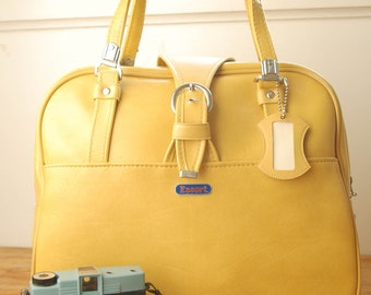 Yellow Vintage Escort Carry-on Luggage with i.d. tag