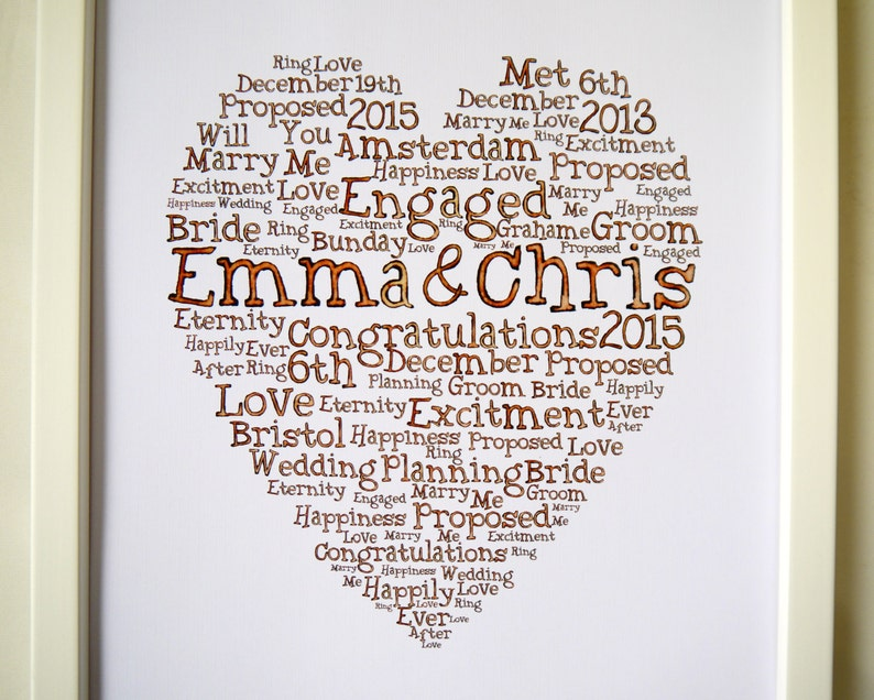 Engagement Word Art LOVE Gifts Wedding Couple Engagement Presents Personalised