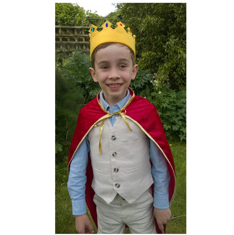Three Wise Men Costume Kids Nativity Costume Christmas Wise Man Costume Felt Crown /& Lined Cloak ANY SIZE  COLOUR Kids Prince Costume