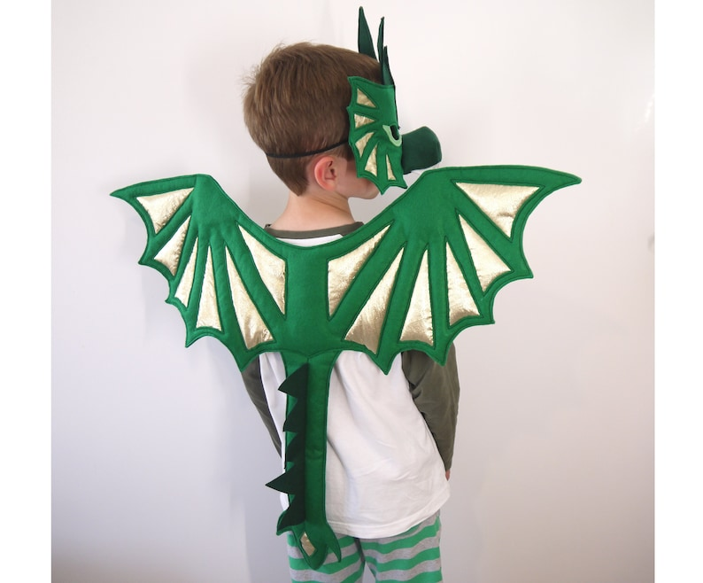 27a1574f99a5 Dragon mask wings costume children's or adults felt boys girls outfit kids  adult child's fantasy birthday party favour bag filler dress up