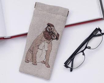 cd6df79af9d Pug Glasses Case - Embroidered Linen