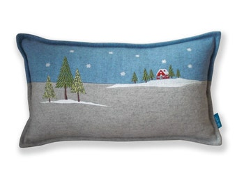 Embroidered Winter Lodge Christmas Cushion