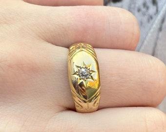 Black and Gold Sunburst Ring Vintage German Glass Starburst Ring Victorian Star Ring