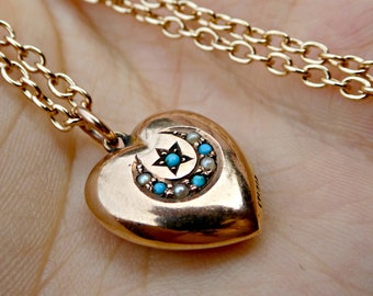 Antique Victorian 9ct Gold Moon & Star Turquoise and Seed Pearl Puffed Heart Charm Necklace, Vintage Celestial Jewelry, Puffy Heart Charm
