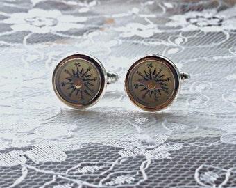 Antique Wanderlust Working Compass Cufflinks
