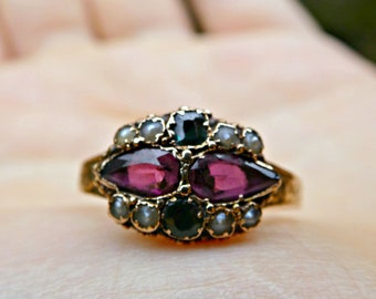Antique Victorian Suffragette 15ct Gold Dated 1899 Emerald Ameythst & Pearl Ring