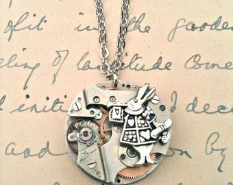 Alice in Wonderland White Rabbit & 1930's Watch Mechanism Necklace