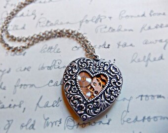 Silver Mechanical Heart Necklace