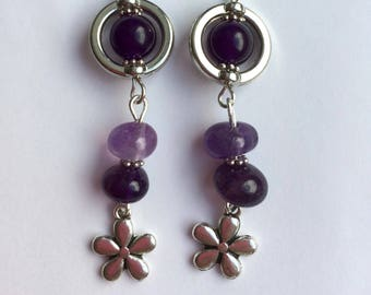 Amethyst earrings, amethyst birthstone flower earrings, amethyst circle earrings, gemstone gift, floral earrings, planet earrings.