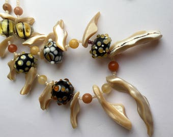 Lampwork necklace,shell and lampwork bead necklace, sea urchin, seaside, beach inspired necklace, shell pendant.