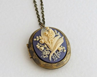 Lily of the Valley Locket .. cameo locket, large locket, large oval locket, lily of the valley, Victorian flower, long necklace
