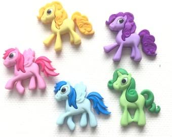 Pony Magnets, Set of 5 Colorful Ponies, Pegasus Magnets, Refrigerator Magnets, Kitchen Decor