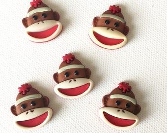 Sock Monkey Magnets, Brown Sock Monkey Magnets, Sock Monkey Fridge Magnets, Sock Monkey Office Decor, Sock Monkey Kitchen Decor