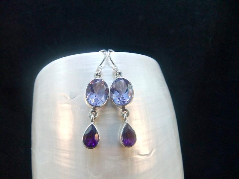 Purple Amethyst Gemstones Earrings Sterling Silver Alexandrite