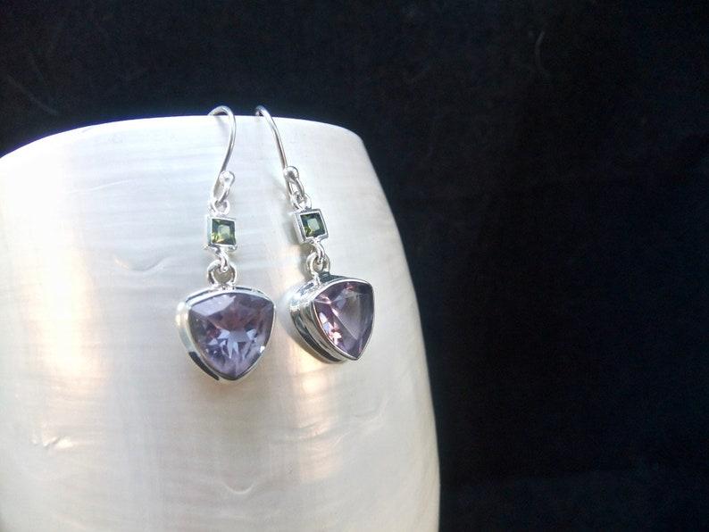 Sterling Silver Earrings Green Tourmaline Gemstones Alexandrite