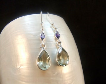 Green Amethyst & Purple Amethyst Sterling Silver Drop Earrings
