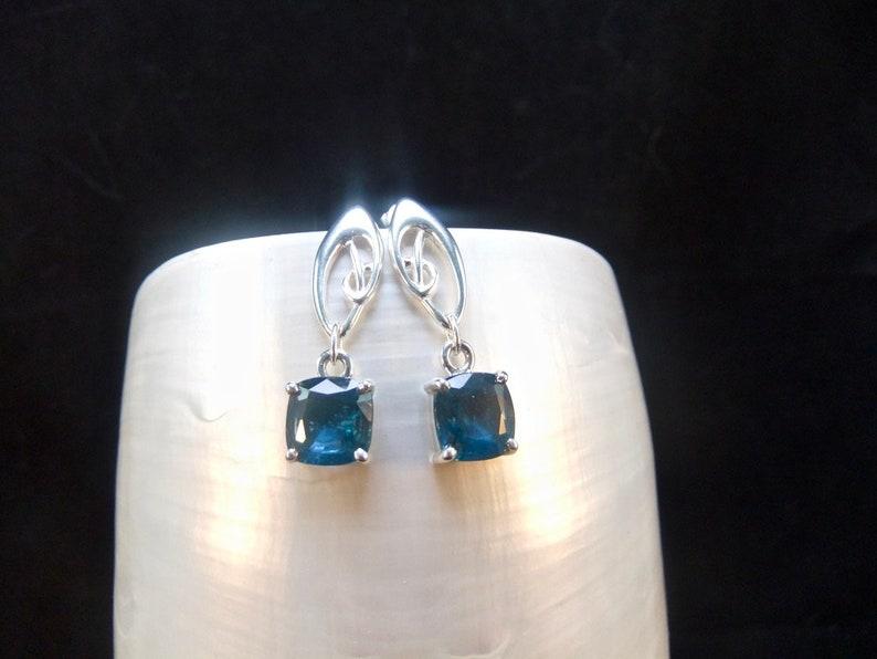 Celtic Design Studded Drop Earrings Rare Teal Kyanite Gemstones Sterling Silver