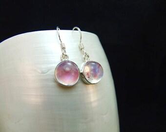 Pink Moonstone Gemstone Silver Sterling Earrings